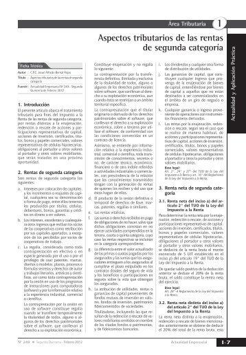 Aspectos tributarios de las rentas de segunda categoría - Revista ...