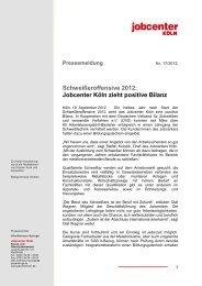Schweißeroffensive 2012: Jobcenter Köln zieht positive Bilanz