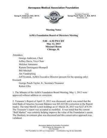 Minutes of the Foundation Board of Directors Meeting - May 2013