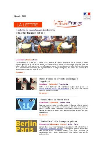 Lettre d'information LatitudeFrance - 05 Janvier 2011