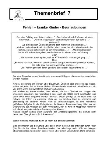 Themenbrief 7 - Fehlen - kranke Kinder - Beurlaubung