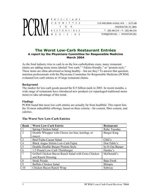 The Worst Low Carb Restaurant Entra C Es Physicians