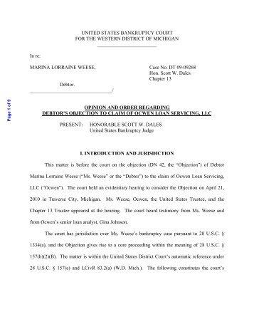 Ocwen magazines opinion and order regarding debtors objection to claim of ocwen platinumwayz