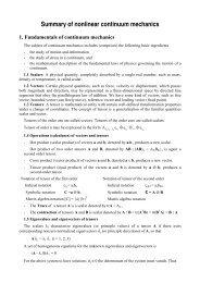 Summary of nonlinear continuum mechanics