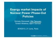 Energy market Impacts of Nuclear Power Phase-Out Policies