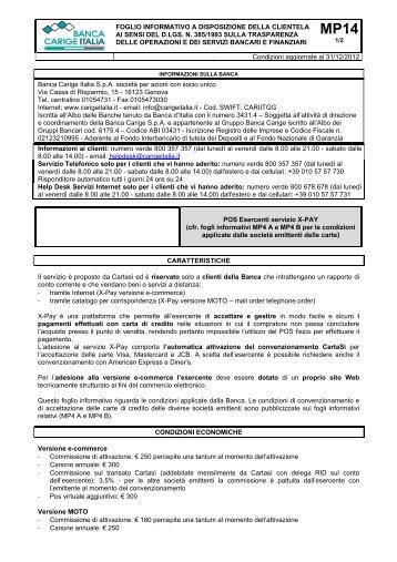 POS Esercenti servizio X-PAY - Gruppo Banca Carige