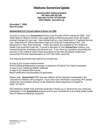 Oklahoma SoonerCare Update - The Oklahoma Health Care Authority