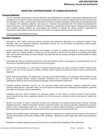 Assistant Superintendent For Human Resources - Williamson ...