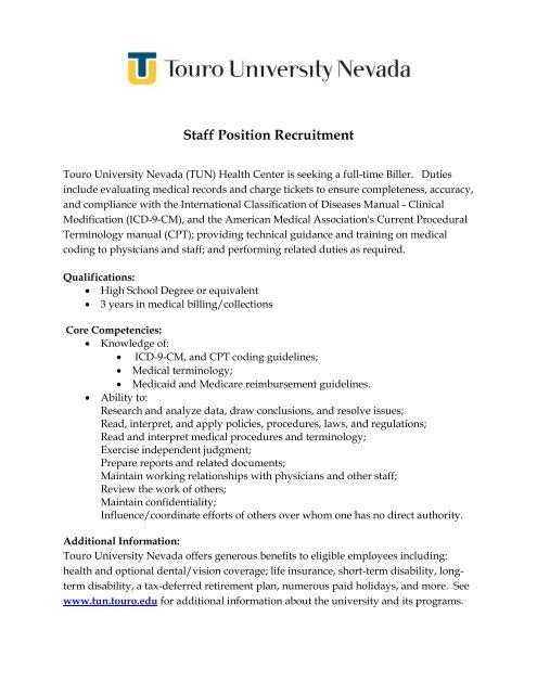 Staff Position Recruitment Touro University Nevada