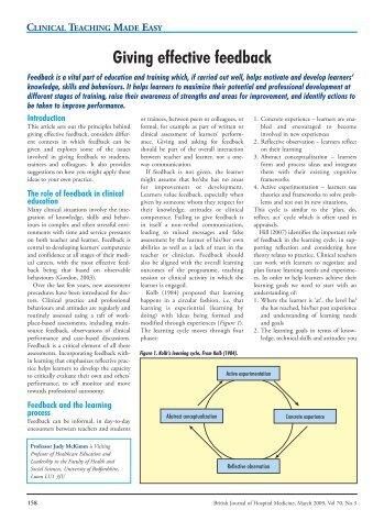 Giving effective feedback - Faculty Development - London Deanery