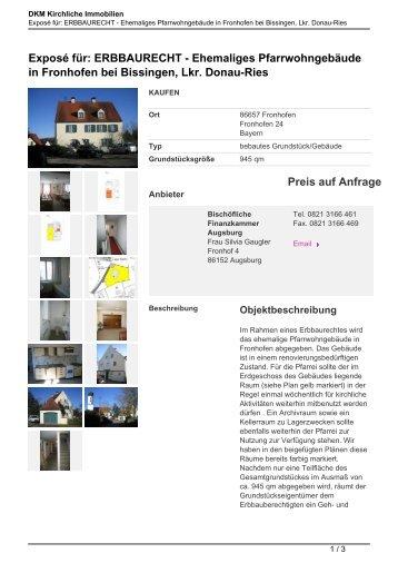 Exposé für: ERBBAURECHT - Ehemaliges ... - Kirchliche Immobilien