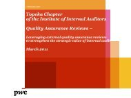 Topeka Chapter of the Institute of Internal Auditors Quality ...