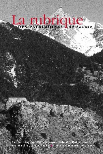 DES PATRIMOINES de Savoie Conservation Départementale du ...