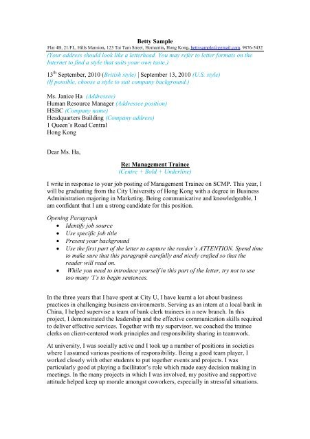 07 Cover Letter Template and Sample - City University of ...