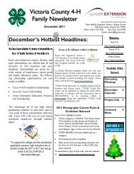 Victoria County 4-H Family Newsletter - Texas A&M AgriLife
