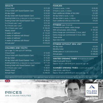 Download prices 2013 - Felsentherme
