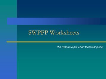 SWPPP Worksheets