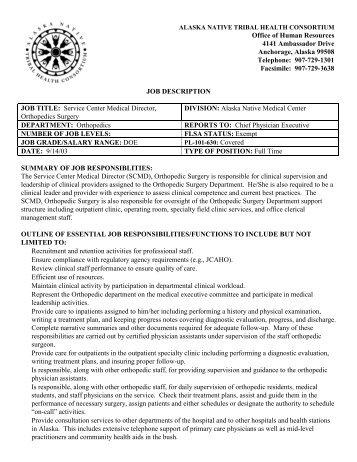 Job Description Job Title Nurse DirectorNurse    Anthc
