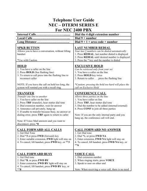 Telephone User Guide NEC DTERM SERIES E For NEC 2400 PBX