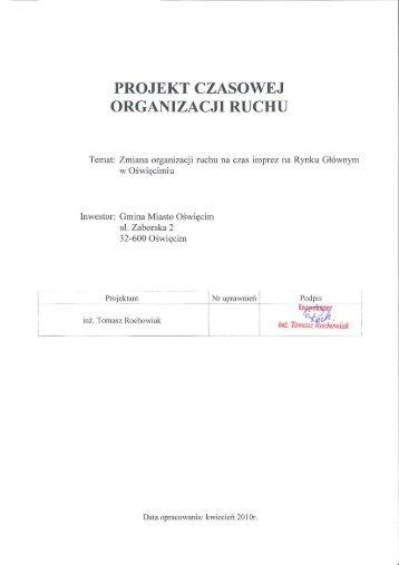 projekt czasowej organizacji ruchu - Oświęcim, Urząd Miejski