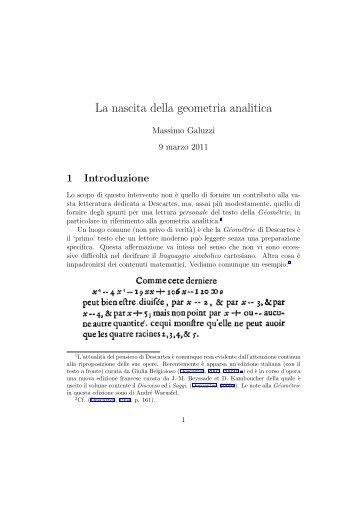 """La nascita della geometria analitica - Dipartimento di Matematica """"U ..."""