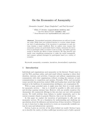 On the Economics of Anonymity - The Free Haven Project