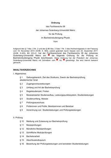 Prüfungsordnung Bachelor of Science Physik (2013) (632 KB)