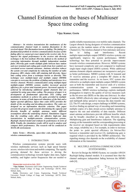 Channel Estimation on the bases of Multiuser Space time coding