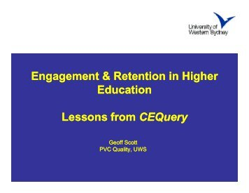 Engagement & Retention in Higher Education Lessons from CEQuery - aair