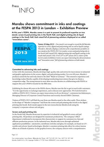 "Press Release ""Marabu at FESPA 2013"""