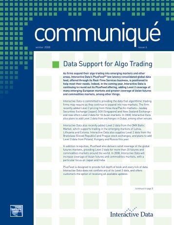 Data Support for Algo Trading - Interactive Data Corporation