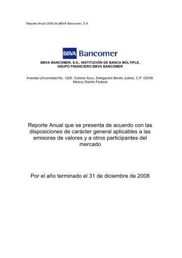 Reporte Anual que se presenta de acuerdo con las ... - Bancomer.com