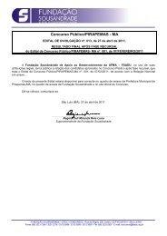 Resultado FINAL APÓS FASE RECURSAL - Fundação Sousândrade