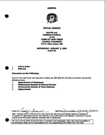 2001 Agenda and Minutes - Camp Verde