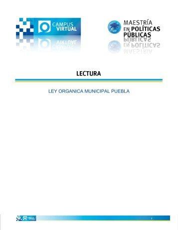 LEY ORGANICA MUNICIPAL PUEBLA