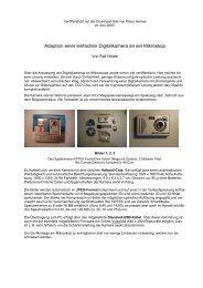 Adaption einer einfachen Digitalkamera an ein Mikroskop