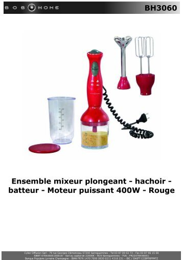 BH3060 Ensemble mixeur plongeant - hachoir ... - BOB HOME