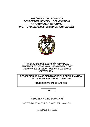 república del ecuador - Repositorio Digital IAEN - Instituto de Altos ...