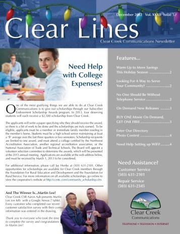 December 2012 Clear Lines - Clear Creek Communications