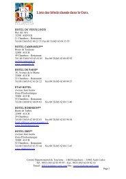 Liste des hôtels classés dans le Gers. - Comité Départemental du ...