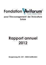 Fondation Rapport annuel 2012 - Aviforum