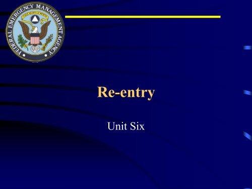 G-358 Unit 6: Re-entry - Ohio Emergency Management Agency