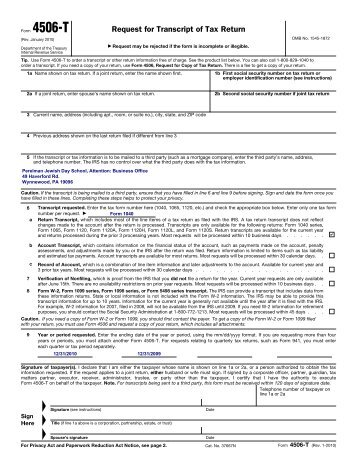 Request For Transcript Of Tax Return Form 4506 T Rev