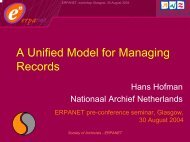 Expressing Archival Concepts into Models - Erpanet
