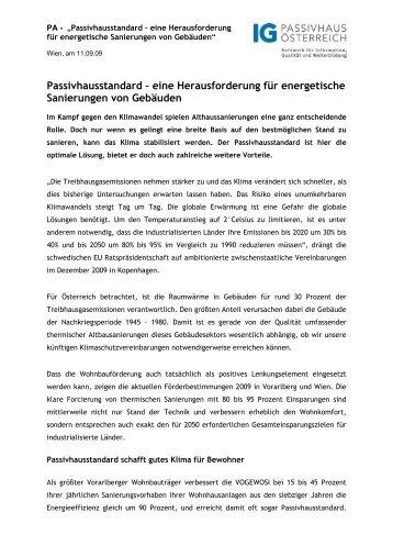 Passivhausstandard bei Sanierungen - Lang Consulting