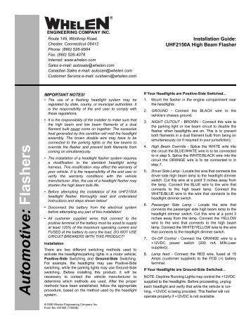 Whelen Uhf2150a Wiring Diagram Whelen Wig Wag Lights Diagrams 2007