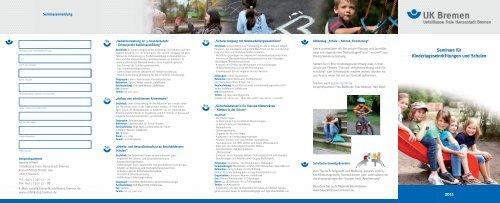 Seminarflyer für Kindertageseinrichtungen und Schulen 2011