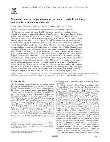Numerical modeling of cosmogenic deglaciation ... - Glyfac.buffalo.edu