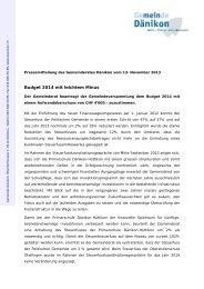 Pressemitteilung des Gemeinderates Dänikon vom 13. November ...