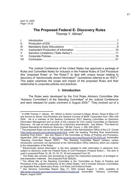 Discovery Of Information About Proposed >> The Proposed Federal E Discovery Rules